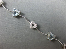 3.65CT DIAMOND & AAA AQUAMARINE 14K WHITE GOLD HEART WAVE LOVE TENNIS BRACELET