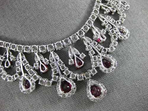 EXTRA LARGE 40.0CT DIAMOND & PIGEON BLOOD RUBY 18K WHITE GOLD 3D TENNIS NECKLACE