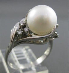 ESTATE DIAMOND 10MM AAA SOUTH SEA PEARL PLATINUM COCKTAIL RING F-G VS #2670