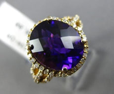 ESTATE 4.35CT DIAMOND & AAA AMETHYST 14K WHITE GOLD 3D OVAL HALO ENGAGEMENT RING