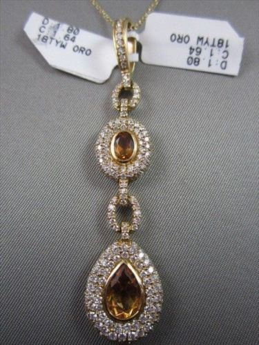 ANTIQUE 18KT YELLOW 3.44CT PEAR SHAPE DIAMOND & CITRINE PENDANT ONE OF A KIND!!!