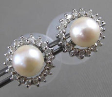 ESTATE .51CT DIAMOND & SOUTH SEA PEARL 14KT WHITE GOLD JACKET CLASSIC EARRINGS