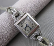 ANTIQUE .45CTW EURO MINE DIAMOND PLATINUM BLACK STARR FROST GORHAM WATCH #2567