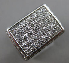 ESTATE LARGE .75CT ROUND DIAMOND 18KT WHITE GOLD 3D PAVE RECTANGULAR MENS RING