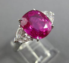 ESTATE LARGE 6.64CT DIAMOND & AAA RUBY PLATINUM NATURAL UNHEATED ENGAGEMENT RING