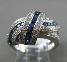 ESTATE WIDE 2.22CT DIAMOND & SAPPHIRE 14KT WHITE GOLD 3D INFINITY LOVE KNOT RING