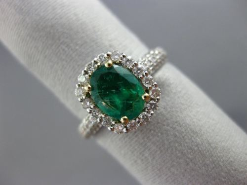 WIDE 1.56CT DIAMOND & EMERALD 14K TWO TONE GOLD HALO OVAL SQUARE ENGAGEMENT RING