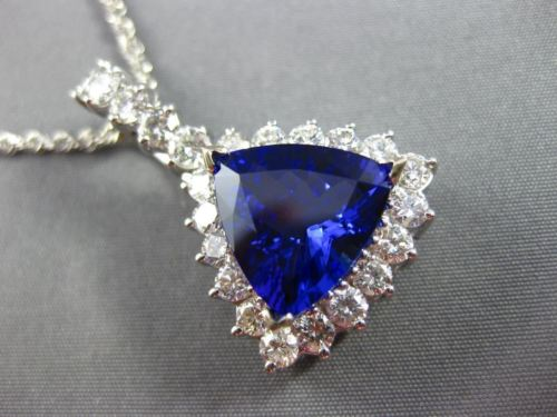 MASSIVE 7.05CT DIAMOND & AAA TANZANITE 14KT WHITE GOLD TRILLION FLOATING PENDANT