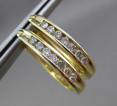 ESTATE .32CT ROUND DIAMOND 14KT YELLOW GOLD CLASSIC OVAL HOOP EARRINGS BEAUTIFUL