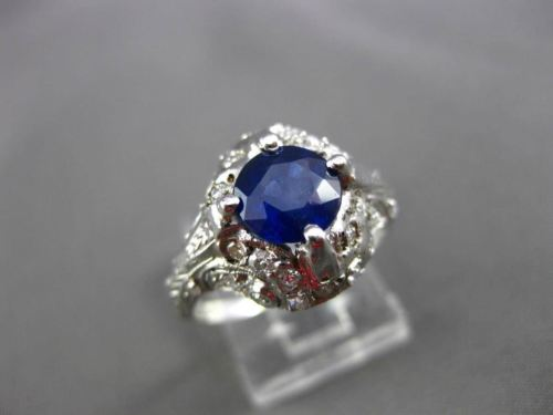 ANTIQUE 1.77CT OLD MINE DIAMOND & AAA SAPPHIRE PLATINUM COCKTAIL RING #11183