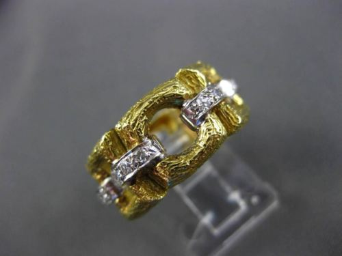ANTIQUE WIDE .36CT OLD MINE DIAMOND 18KT TWO TONE GOLD OPEN ETERNITY RING #17195