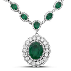 GIA CERTIFIED LARGE 28.47CT DIAMOND & AAA EMERALD 18KT WHITE GOLD HALO NECKLACE