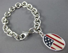ESTATE TIFFANY & CO 925 SILVER 3D AMERICAN FLAG 9/11 REMEMBRANCE BRACELET #25575