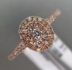 ESTATE .31CT DIAMOND 14K ROSE GOLD CLUSTER OVAL HALO SEMI ETERNITY PROMISE RING