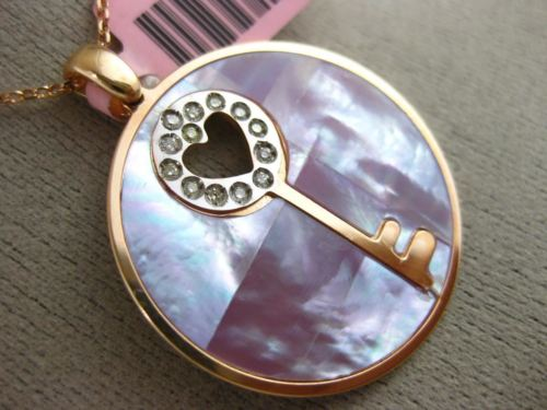 LARGE .10CT DIAMOND & AAA PURPLE MOTHER OF PEARL 14KT ROSE GOLD HEART PENDANT
