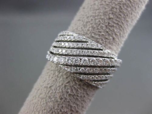 ESTATE 1.0CT DIAMOND 14KT WHITE GOLD MULTI ROW CURVE ANNIVERSARY COCKTAIL RING