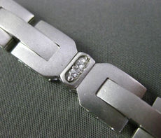 ESTATE WIDE & LONG .40CT DIAMOND 14KT WHITE GOLD 3D SQUARE LINK MENS BRACELET