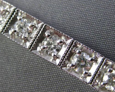 ESTATE WIDE 4CT DIAMOND 14KT WHITE GOLD SQUARE MILGRAIN CLASSIC TENNIS BRACELET