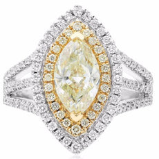 ESTATE LARGE 2.37CT WHITE & FANCY YELLOW DIAMOND 18KT WHITE GOLD ENGAGEMENT RING