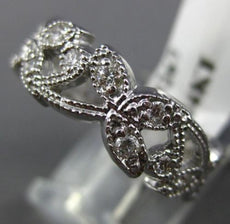 ESTATE .55CT DIAMOND 14K WHITE GOLD 3D FLOWER FILIGREE ETERNITY ANNIVERSARY RING