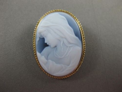 ESTATE OVAL 14K YELLOW GOLD HANDCRAFTED FILIGREE BLUE CAMEO PENDANT BROOCH 22496