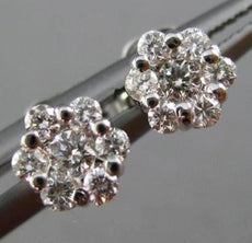 ESTATE .30CT DIAMOND 14KT WHITE GOLD 3D CLUSTER FLOWER POST STUD EARRINGS #25517