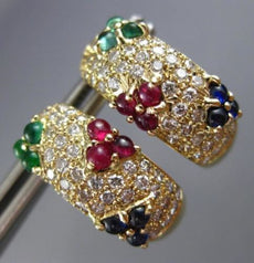 WIDE 2.60CT DIAMOND & RUBY SAPPHIRE EMERALD 18K YELLOW GOLD FLOWER HOOP EARRINGS