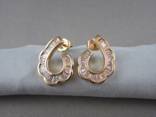 ESTATE WIDE 1.05CT DIAMOND 14KT YELLOW GOLD FLAT HOOP EARRINGS 18mm X 12mm