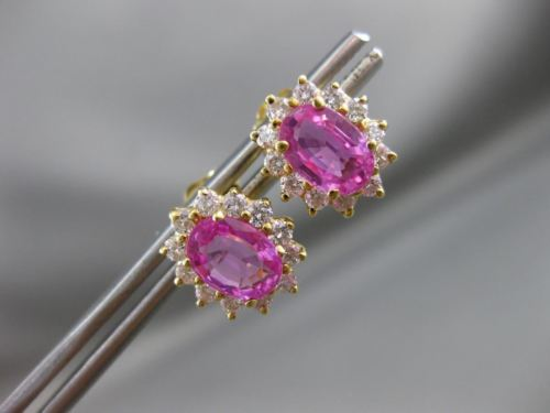 ANTIQUE 2.50CT DIAMOND & AAA PINK SAPPHIRE 14KT YELLOW GOLD STUD EARRINGS #1239