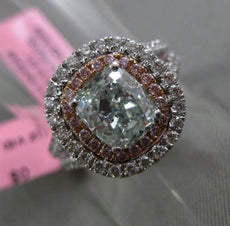 ESTATE LARGE GIA 2.74CT GREEN & PINK DIAMOND 18KT WHITE GOLD 3D ENGAGEMENT RING