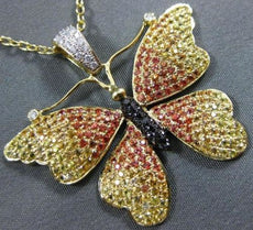 LARGE 2.66CT MULTI COLOR GEM 18KT YELLOW GOLD FLYING BUTTERFLY FLOATING PENDANT