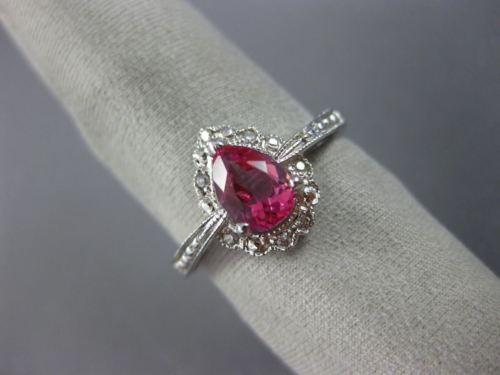 1.07CT DIAMOND & AAA PEAR SHAPE PINK TOURMALINE 14KT WHITE GOLD ENGAGEMENT RING