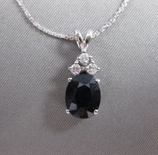 ESTATE 2.15CTW DIAMOND SAPPHIRE 14KT WHITE GOLD HANGING CLUSTER PENDANT #12374