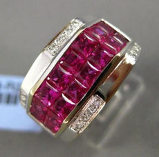 ESTATE WIDE 4.10CT DIAMOND & AAA RUBY 18KT WHITE GOLD 3D RECTANGULAR MENS RING