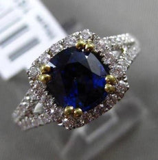 ESTATE 2.33CT DIAMOND & AAA SAPPHIRE 18KT WHITE & YELLOW GOLD ENGAGEMENT RING