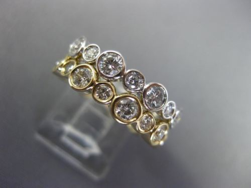 WIDE 2.16CT DIAMOND 14KT WHITE & YELLOW GOLD BEZEL DOUBLE STACKABLE WEDDING RING