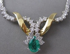 ANTIQUE 1.95CT DIAMOND EMERALD 14KT WHITE YELLOW GOLD FLAT SRIWL NECKLACE #6871