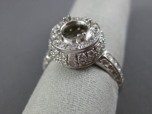 WIDE .80CT DIAMOND 14K WHITE GOLD 3D DOUBLE HALO SEMI MOUNT ENGAGEMENT RING 1037