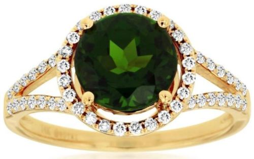 ESTATE 2.31CT DIAMOND & AAA RUSSALITE 14K YELLOW GOLD ROUND HALO ENGAGEMENT RING