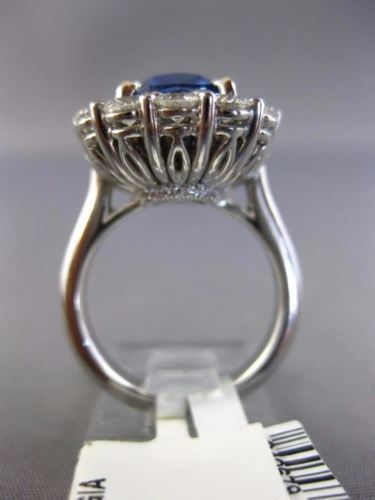 LARGE GIA 11.80CT DIAMOND & AAA SAPPHIRE PLATINUM PRINCESS DIANA ENGAGEMENT RING