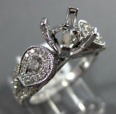 ESTATE .79CT DIAMOND 14KT WHITE GOLD 3D OPEN FILIGREE SEMI MOUNT ENGAGEMENT RING