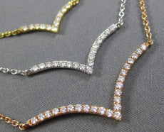 ESTATE .87CT DIAMOND 18KT WHITE YELLOW & ROSE GOLD 3 ROW V SHAPE LOVE NECKLACE