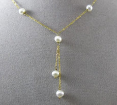 ESTATE AAA PEARL 14KT YELLOW GOLD BY THE YARD DIAMOND CUT LARIAT NECKLACE 24943