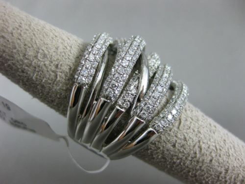 ESTATE EXTRA LARGE 3.19CT DIAMOND 18K WHITE GOLD MULTI ROW CRISS CROSS LOVE RING