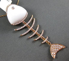 ESTATE 10.26CT DIAMOND & AAA AGATE 14KT ROSE GOLD 3D FISH FLOATING LUCKY PENDANT