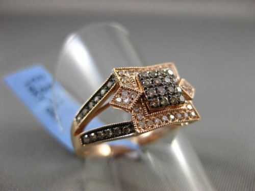 ANTIQUE .40CTW WHITE & FANCY YELLOW DIAMOND 14K ROSE & BLACK GOLD 3D SQUARE RING