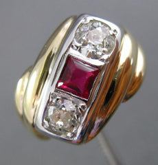 ANTIQUE WIDE .88CT DIAMOND & AAA RUBY 14KT WHITE & YELLOW GOLD MENS RING #26229