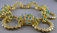 ANTIQUE WIDE 18KT YELLOW GOLD EMERALD FILIGREE ROUND CIRCLE BRACELET #20950