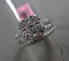 ESTATE 1.32CT ROUND & PRINCESS DIAMOND 18KT WHITE GOLD CLUSTER ENGAGEMENT RING