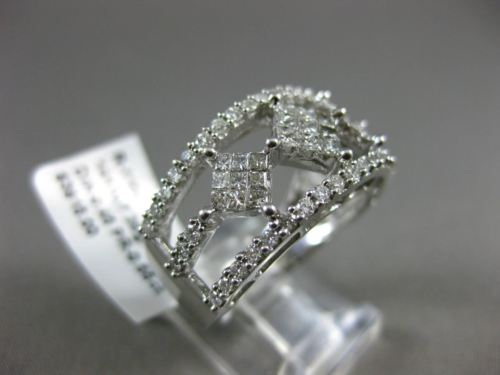 ESTATE WIDE 1CT ROUND & PRINCESS DIAMONDS 14KT WHITE GOLD 3D SEMI ETERNITY RING